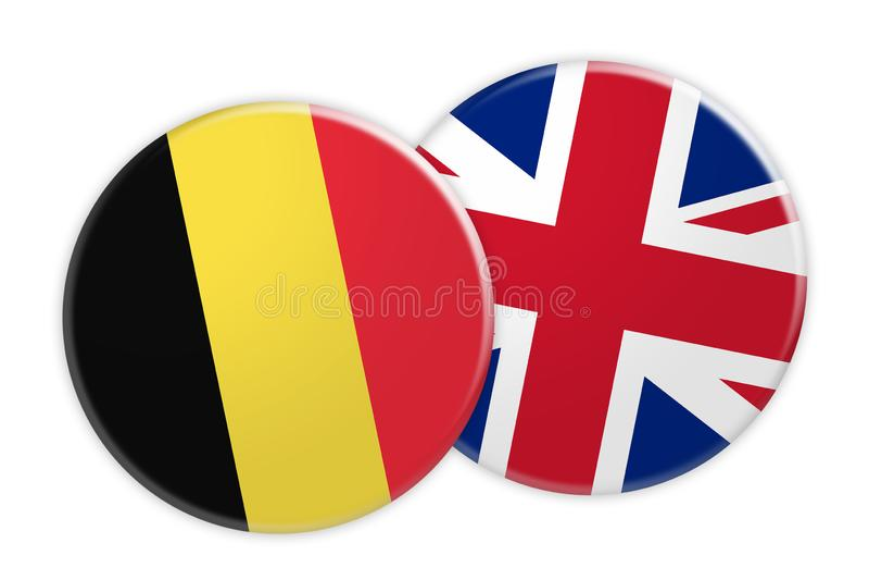 Botão da bandeira de Bélgica no botão da bandeira do Reino Unido, ilustração 3d no fundo branco ilustração do vetor