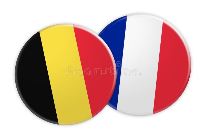 Botão da bandeira de Bélgica no botão da bandeira de França, ilustração 3d no fundo branco ilustração do vetor