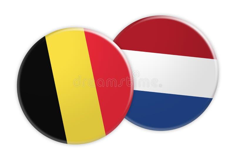 Botão da bandeira de Bélgica no botão holandês da bandeira, ilustração 3d no fundo branco ilustração royalty free