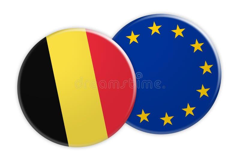 Botão da bandeira de Bélgica no botão da bandeira da UE, ilustração 3d no fundo branco ilustração royalty free