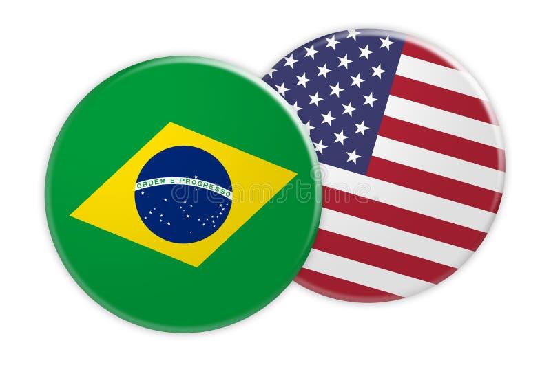 Botão da bandeira de Brasil no botão da bandeira dos EUA, ilustração 3d no fundo branco ilustração royalty free