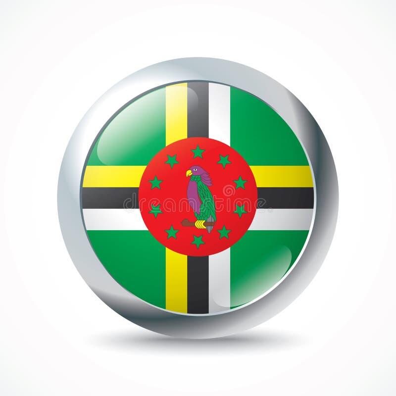 Botão da bandeira de Domínica ilustração do vetor