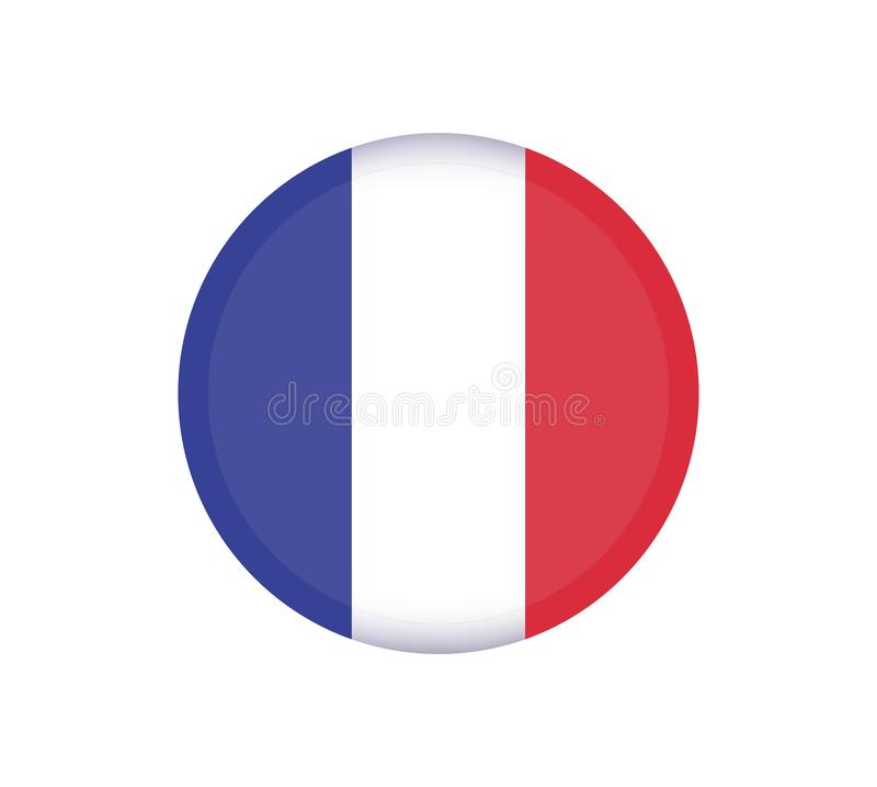 Botão da bandeira de FRANÇA Ícone redondo do vetor da bandeira de França - ilustração ilustração do vetor