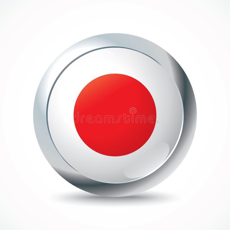 Botão da bandeira de Japão ilustração royalty free