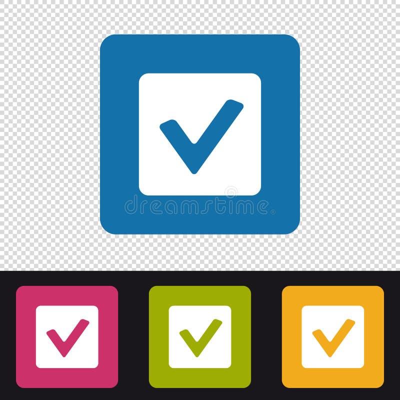 Botão da caixa de verificação - verificação Mark Sign - ícones coloridos do vetor - isolados no fundo transparente ilustração royalty free