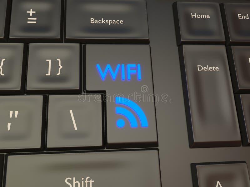Botão da conexão de rede do sinal de WIFI fotos de stock royalty free