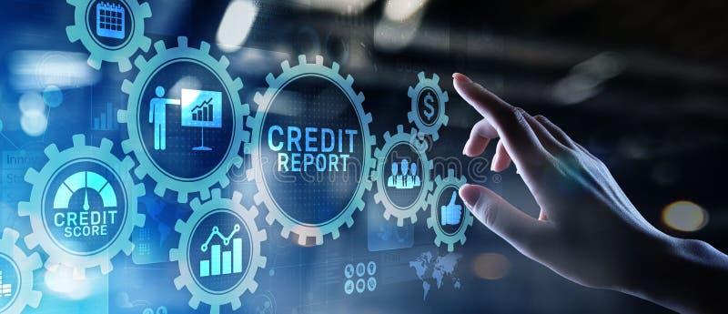 Botão da contagem do relatório de crédito na tela virtual Conceito da finan?a do neg?cio foto de stock royalty free