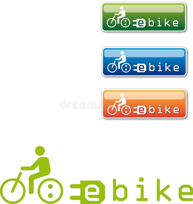 botão da E-bicicleta, logotipo ilustração stock