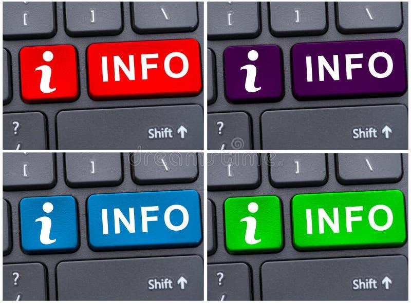 Botão da informação no teclado do portátil foto de stock
