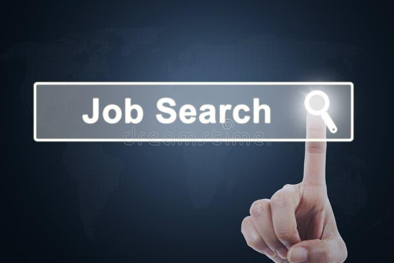 Botão da procura de emprego da pressão de mão do empresário imagens de stock