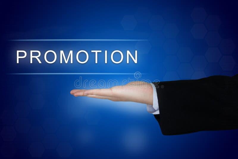 Botão da promoção no fundo azul fotos de stock