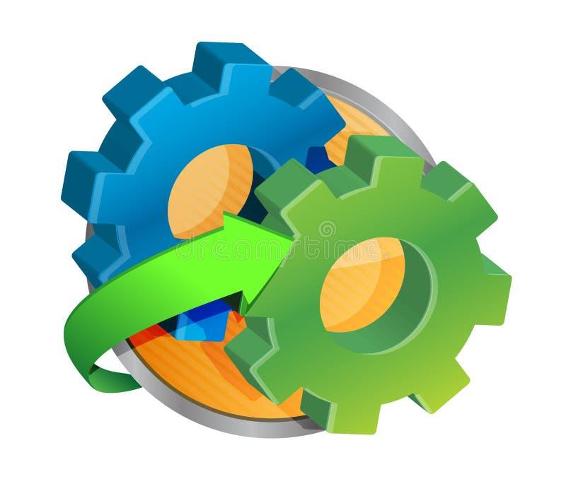 Botão da roda da roda denteada ilustração stock