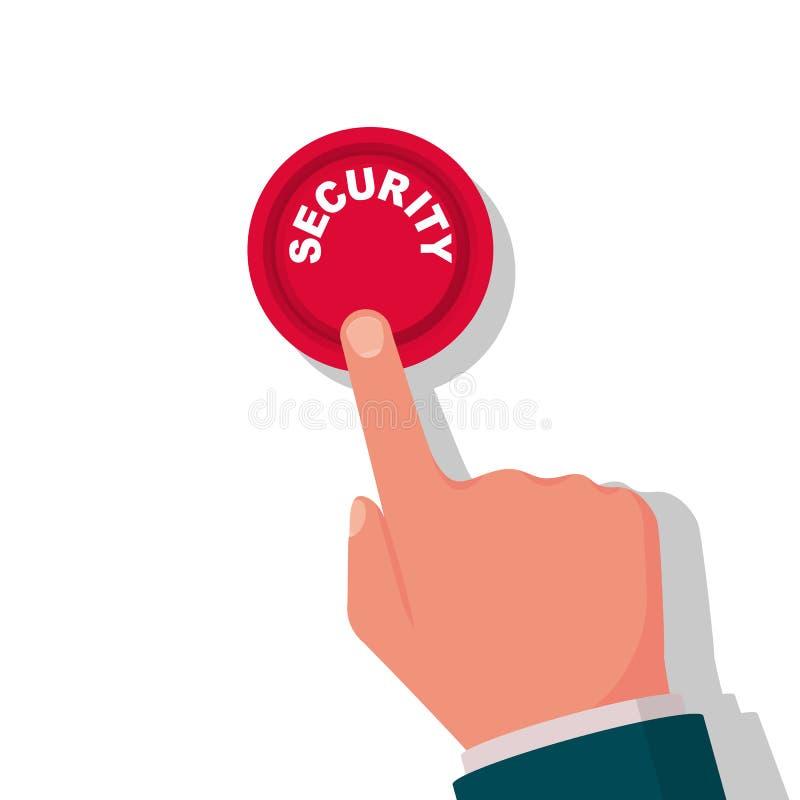 Botão da segurança Botão vermelho de pressão de mão ilustração do vetor