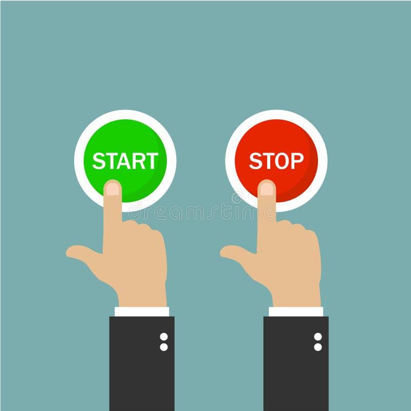 Botão da tecla 'Iniciar Cópias' e de parada Empurre os botões Teclas verdes e vermelhas Fundo verde Ilustração do vetor ilustração do vetor