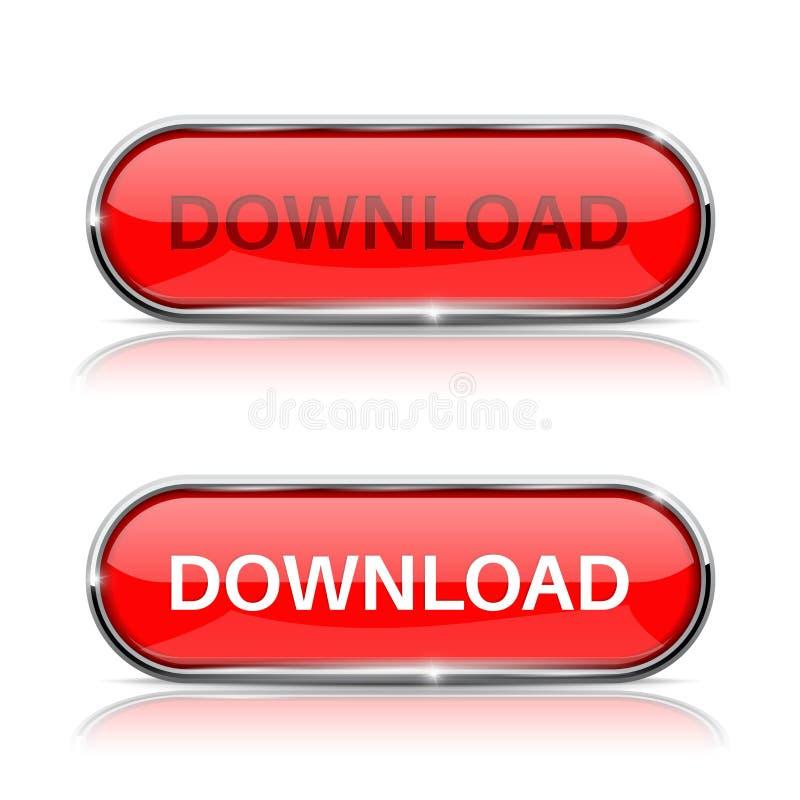 Botão da transferência Ícone oval vermelho brilhante da Web ilustração do vetor
