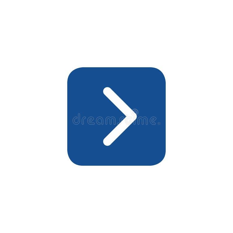Botão da Web com sinal direito da seta Ícone quadrado arredondado da forma Ilustração do vetor isolada no fundo branco ilustração do vetor