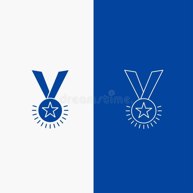 Botão da Web da concessão, da honra, da medalha, do grau, da reputação, da linha da fita e do Glyph na bandeira vertical da cor a ilustração royalty free
