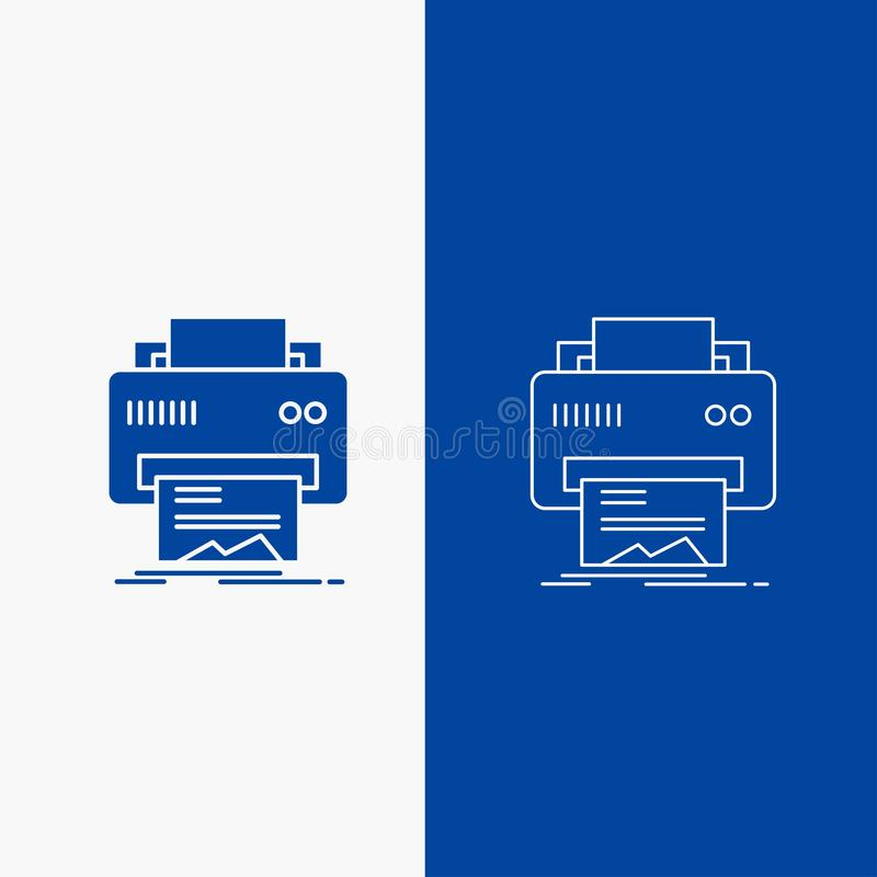 Botão da Web de Digitas, de impressora, de impressão, de hardware, de linha do papel e de Glyph na bandeira vertical da cor azul  ilustração do vetor