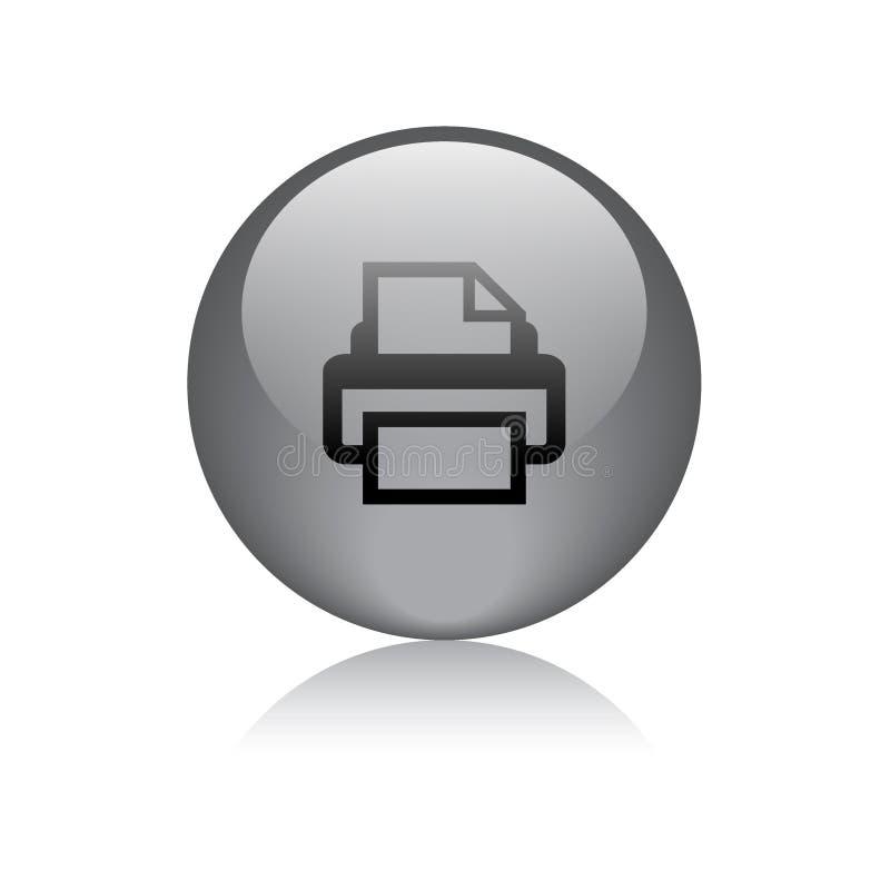 Botão da Web do ícone de impressora redondo ilustração royalty free
