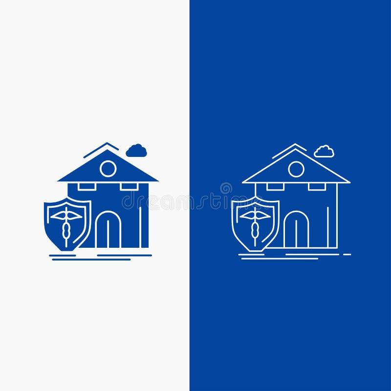 botão da Web do seguro, da casa, da casa, da víctima, da linha da proteção e do Glyph na bandeira vertical da cor azul para UI e  ilustração do vetor