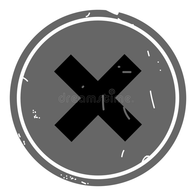 Botão da Web do vetor do ícone do cancelamento no fundo cinzento ilustração royalty free