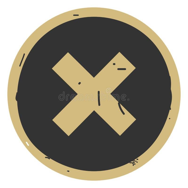 Botão da Web do vetor do ícone do cancelamento no fundo cinzento ilustração do vetor