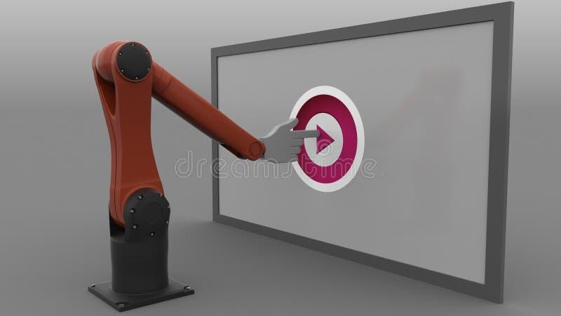 Botão de clique do jogo do braço do robô rendição 3d ilustração stock