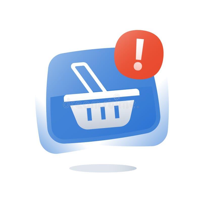 Botão de compra em linha, cesta da loja, carro abandonado, mercado e promoção, oferta limitada, programa da lealdade, melhoria da ilustração stock