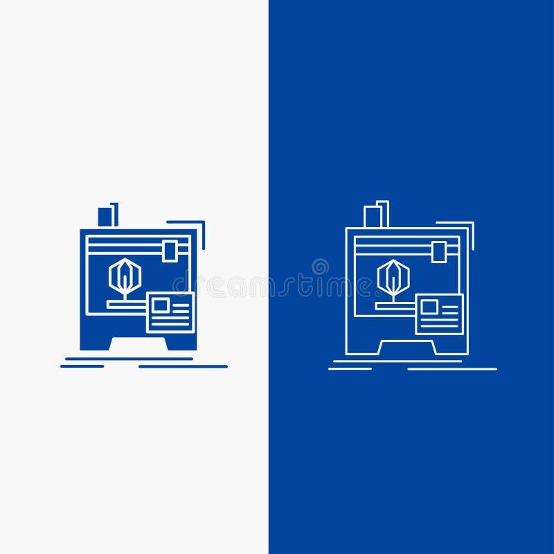 botão de 3d, dimensional, de máquina, de impressora, de linha de impressão e de Glyph da Web na bandeira vertical da cor azul par ilustração do vetor