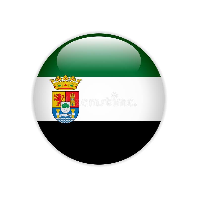 Botão de Extremadura da bandeira ilustração do vetor