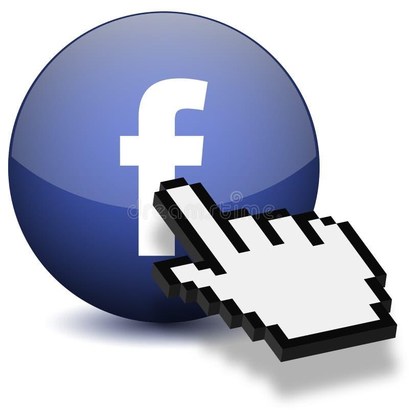 Botão de Facebook da imprensa da mão do rato