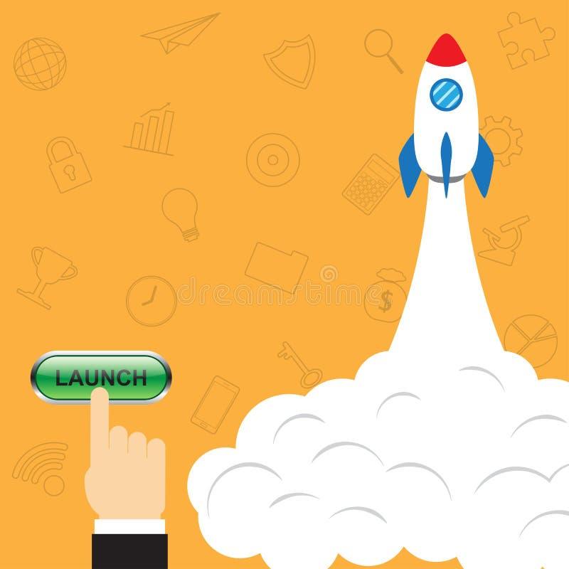 Botão de impulsos do dedo para lançar Rocket ilustração stock