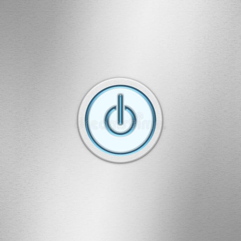 Botão de interruptor da interface de utilizador de ligar/desligar Botão do poder em um painel de alumínio escovado ilustração stock
