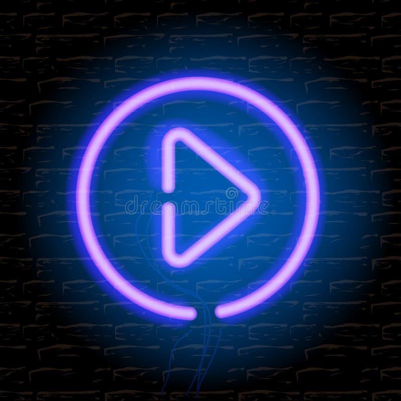 Botão de néon do jogo da música na parede de tijolo ilustração do vetor