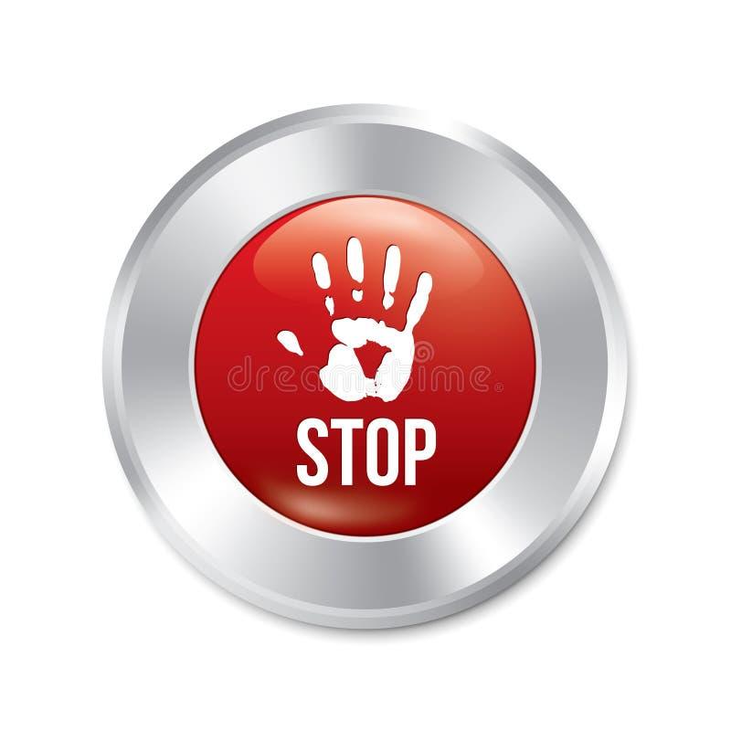 Botão de parada da mão. Etiqueta redonda vermelha do limite de idade. ilustração do vetor