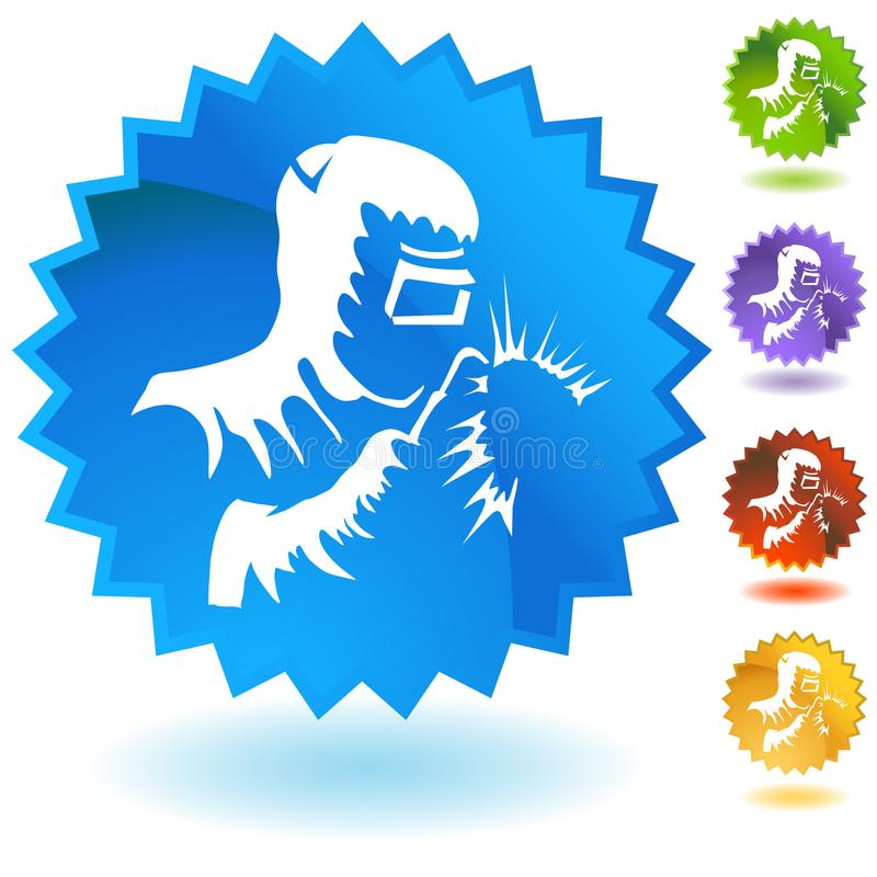 Botão de Welding Industrial Work do soldador ilustração royalty free