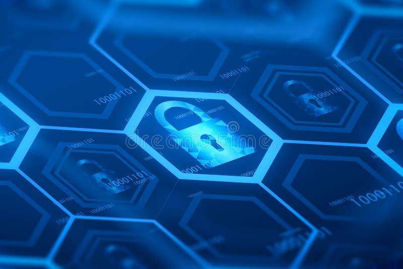 Botão digital da segurança em linha azul ilustração royalty free