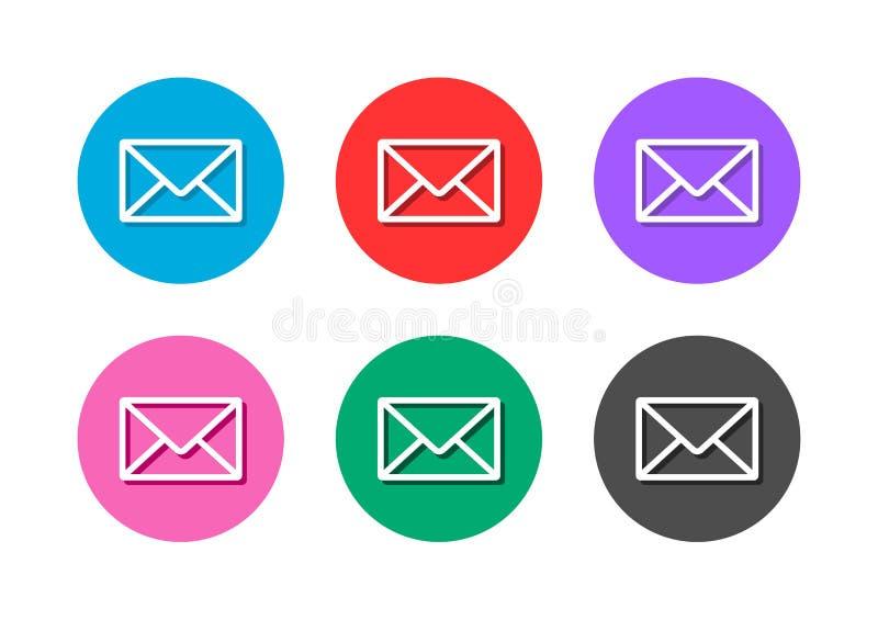 Botão do ícone do correio ilustração stock