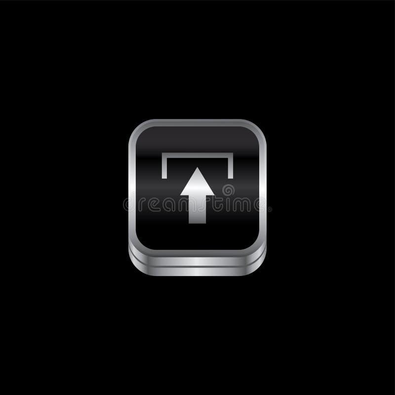 botão do ícone do tema da placa de metal da transferência de arquivo pela rede ilustração do vetor