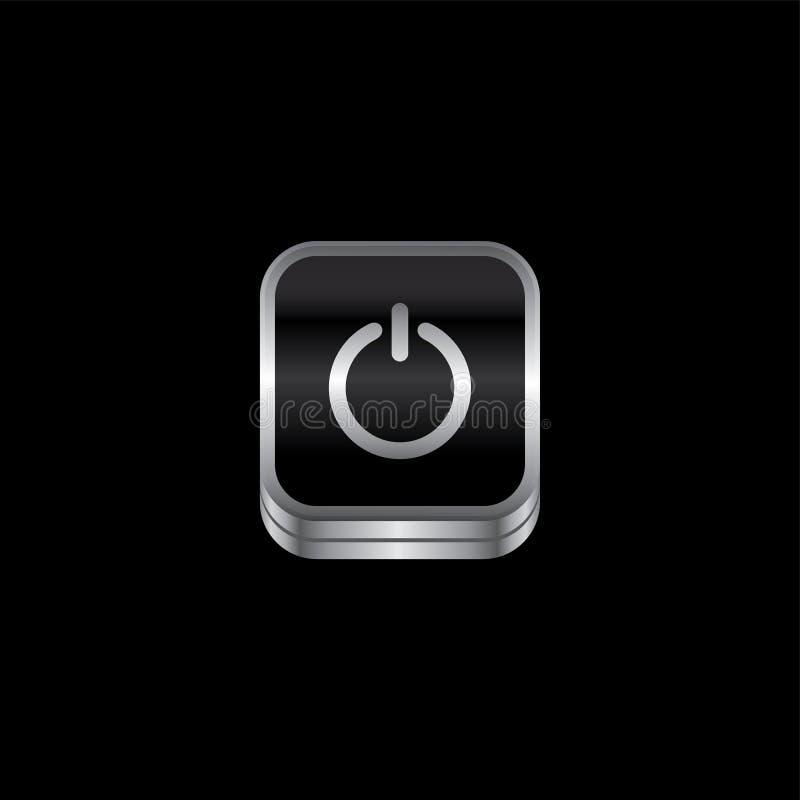 botão do ícone do tema da placa de metal do interruptor de alimentação ilustração royalty free
