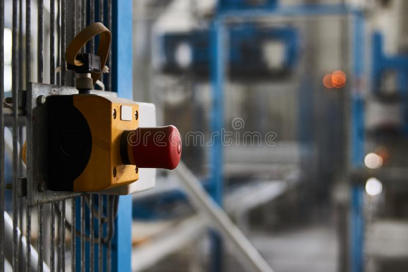 Botão do começo ou de parada para a máquina industrial, close-up imagem de stock