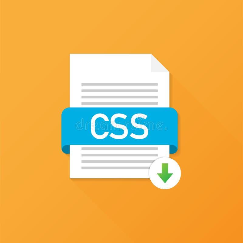 Botão do CSS da transferência Conceito do original do fazendo download Arquivo com etiqueta do CSS e para baixo sinal da seta Ilu ilustração do vetor