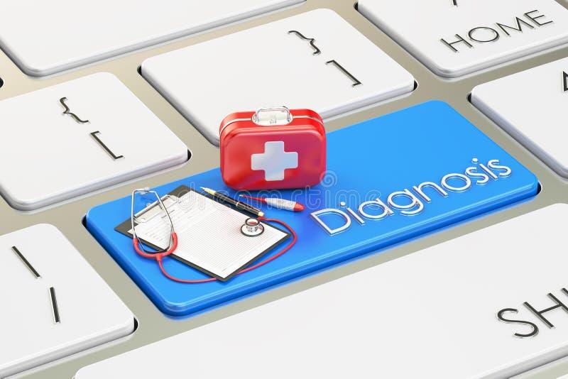 Botão do diagnóstico, chave azul no teclado 3D ilustração royalty free