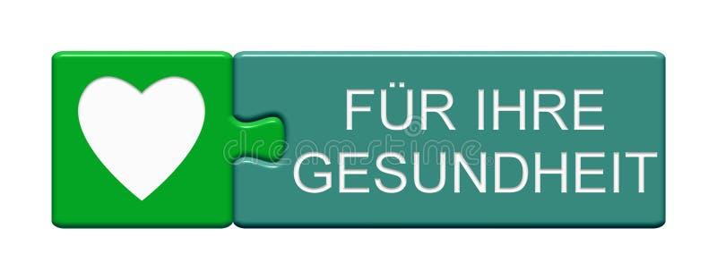 Botão do enigma: Para seu alemão da saúde ilustração stock