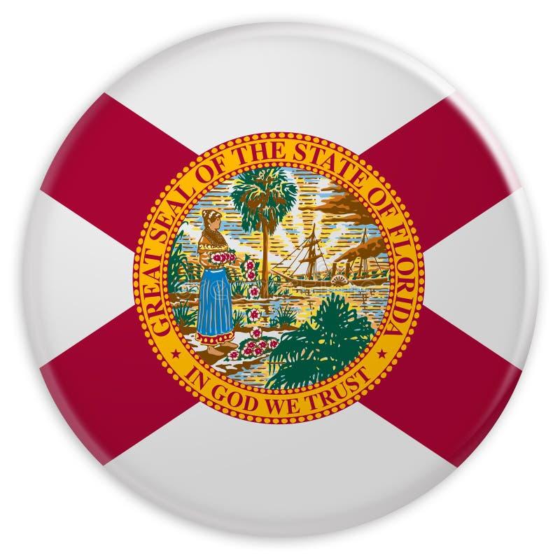 Botão do estado de E.U.: Ilustração do crachá 3d da bandeira de Florida no fundo branco ilustração do vetor