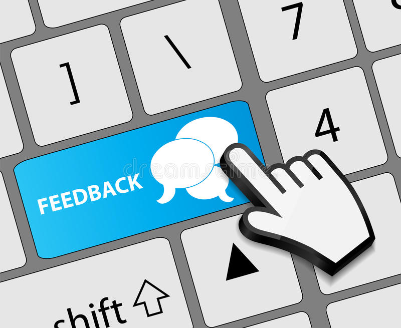 Botão do feedback do teclado com o cursor da mão do rato ilustração royalty free