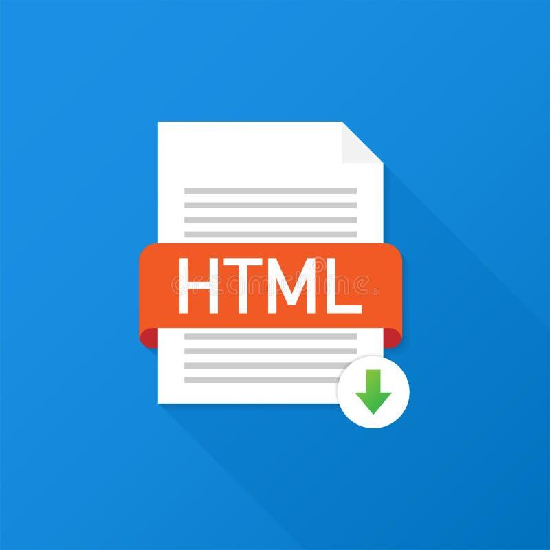 Botão do HTML da transferência Conceito do original do fazendo download Arquivo com etiqueta do HTML e para baixo sinal da seta I ilustração stock