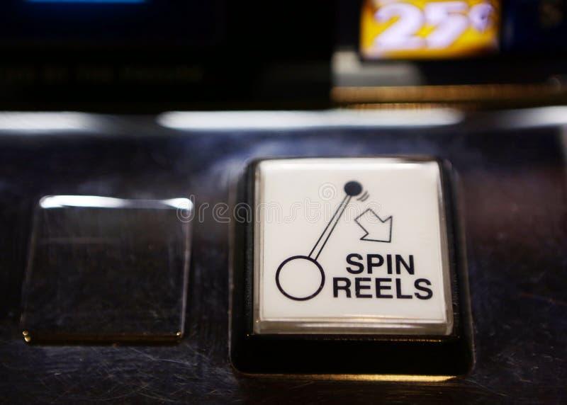 Botão do jogo do slot machine de Vegas fotografia de stock royalty free