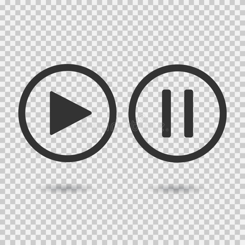 Botão do jogo e botão de pausa imagens de stock royalty free