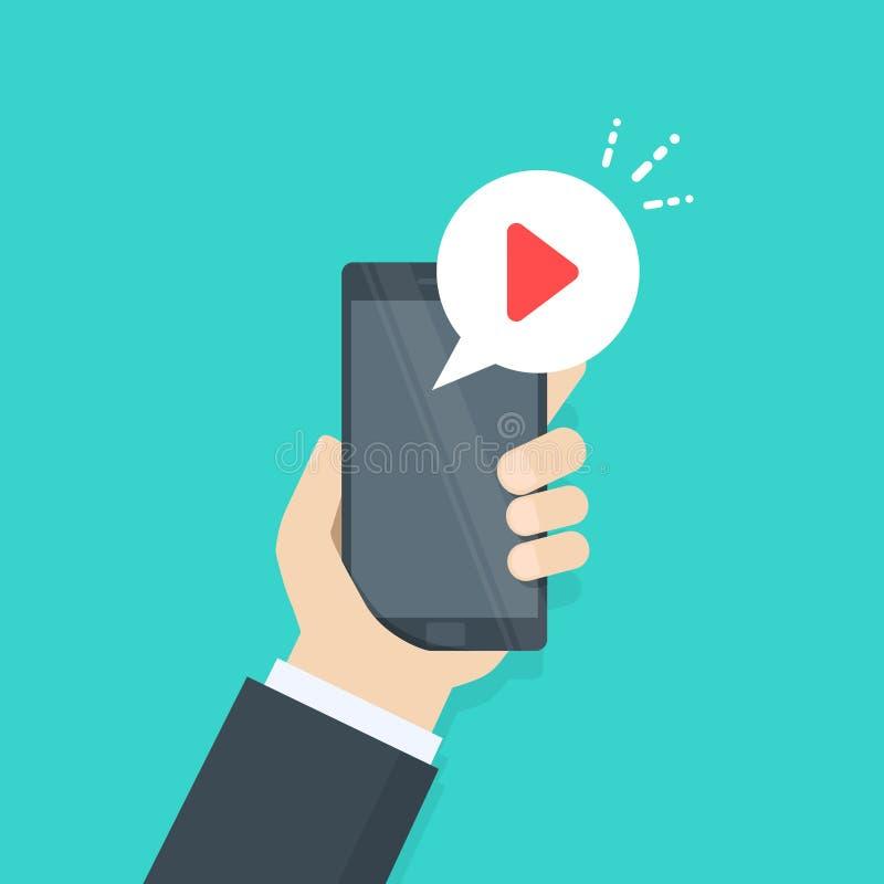 Botão do jogo na tela do smartphone Vídeo do relógio no telefone celular Conceito gráfico para bandeiras da Web, Web site, infogr ilustração stock